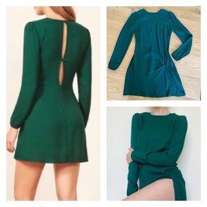 Reformation Cara Long Sleeve Green Mini Dress 2